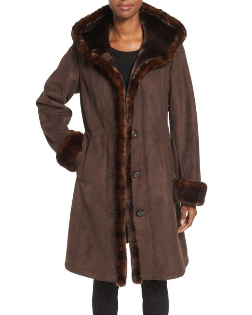 Gallery - Brown Hooded Faux Shearling Long A-line Coat - Lyst