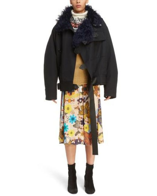Acne | Black Cees Coat With Genuine Shearling Trim | Lyst