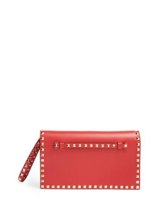 Valentino - Red 'rockstud' Leather Flap Clutch - - Lyst