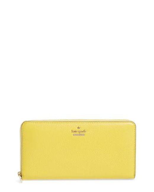 Kate Spade - Yellow Blake Street - Dot Lacey Leather Wallet - Lyst