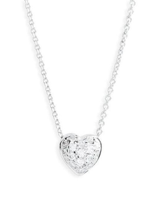 Roberto Coin   Metallic 'tiny Treasures' Diamond Heart Pendant Necklace - Puffed Heart   Lyst