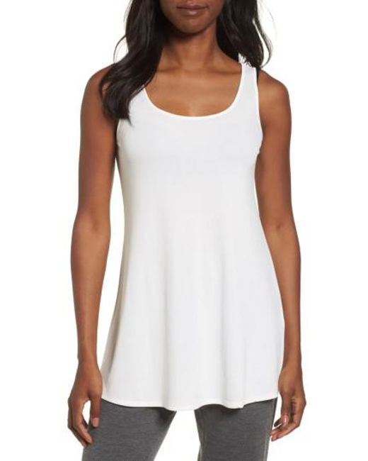 Eileen Fisher | White Scoop Neck Silk Tunic | Lyst