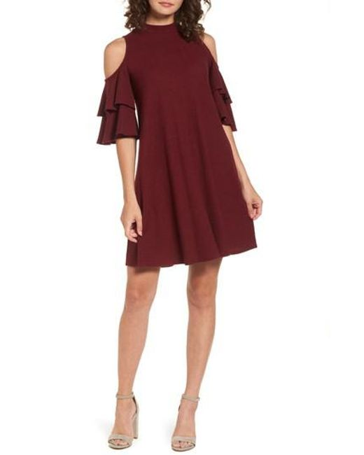 Soprano   Red Ruffle Cold Shoulder Shift Dress   Lyst