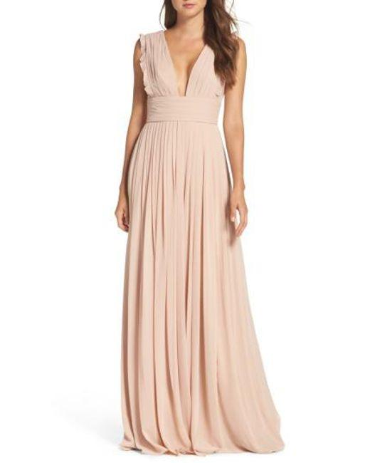 Monique Lhuillier Bridesmaids | Blue Deep V-neck Ruffle Pleat Chiffon Gown | Lyst