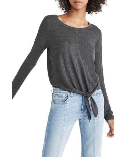 Madewell | Gray Modern Tie Front Sweater | Lyst