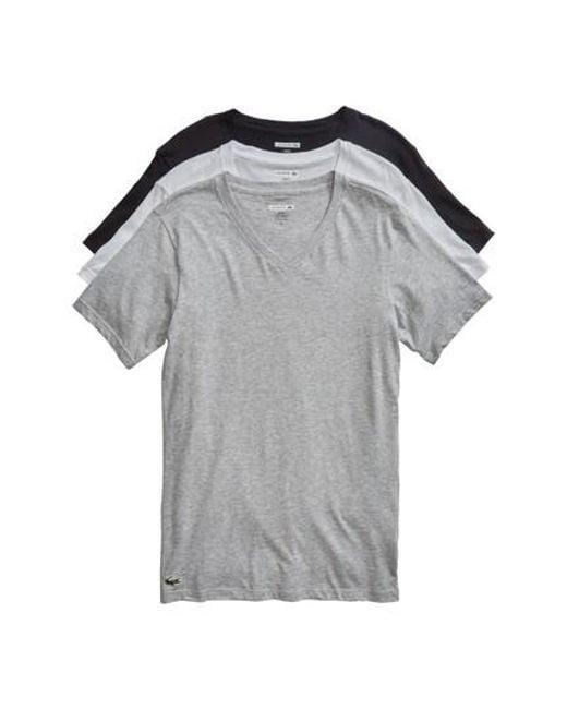 Lacoste - Gray 3-pack Slim Fit V-neck T-shirts, Black for Men - Lyst