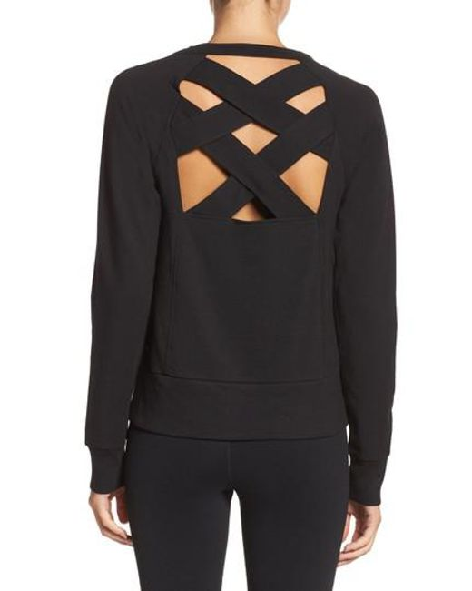 Zella   Black Covet Crisscross Sweatshirt   Lyst