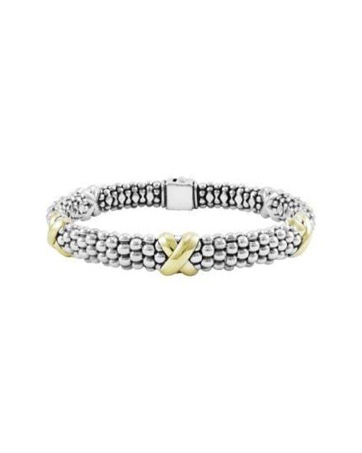 Lagos - Metallic 'x' Two-tone Rope Bracelet - Lyst