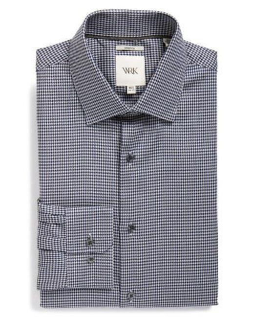 W.r.k. - Black Extra Trim Fit Stretch Houndstooth Dress Shirt for Men - Lyst