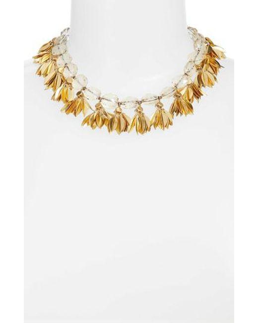 Serefina - Metallic Crystal & Leaf Statement Necklace - Lyst
