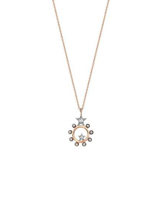 Kismet by Milka Eclectic Circle Star Pendant Necklace with Diamonds sMTC9henfG