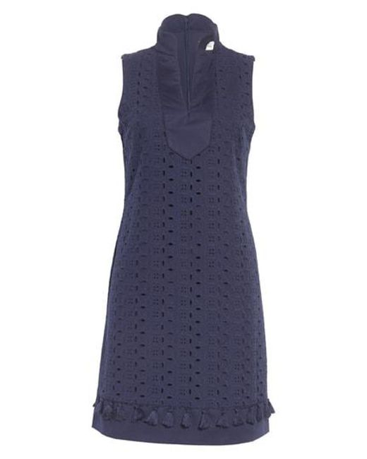 Eliza J - Blue Mandarin Collar Shift Dress - Lyst