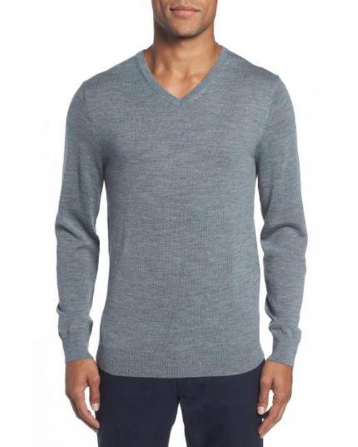 Bonobos | Gray Merino V-neck Sweater for Men | Lyst