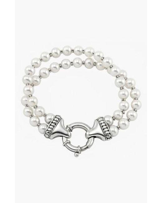 Lagos | Metallic 'luna' Double Strand Pearl Bracelet | Lyst