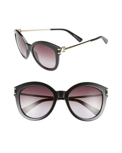 d86966e61a Lyst - Longchamp 55mm Cat Eye Sunglasses in Black