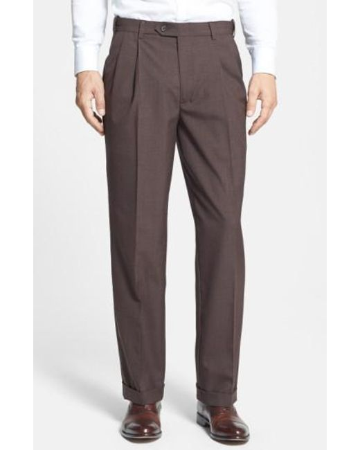 Berle   Brown Self Sizer Waist Pleated Trousers for Men   Lyst