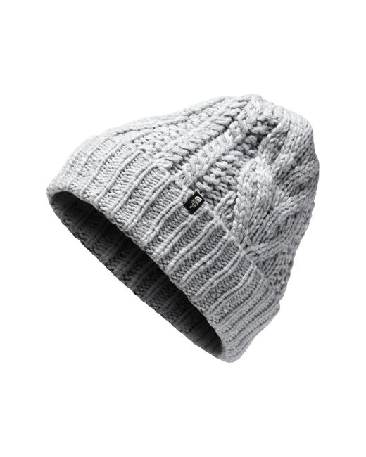 The North Face - Gray Minna Cable Knit Beanie - Lyst