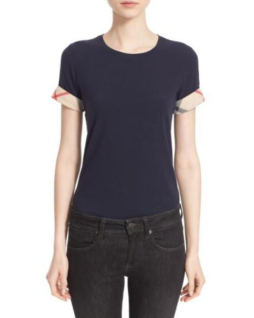 Burberry | Blue Check Trim Tee | Lyst