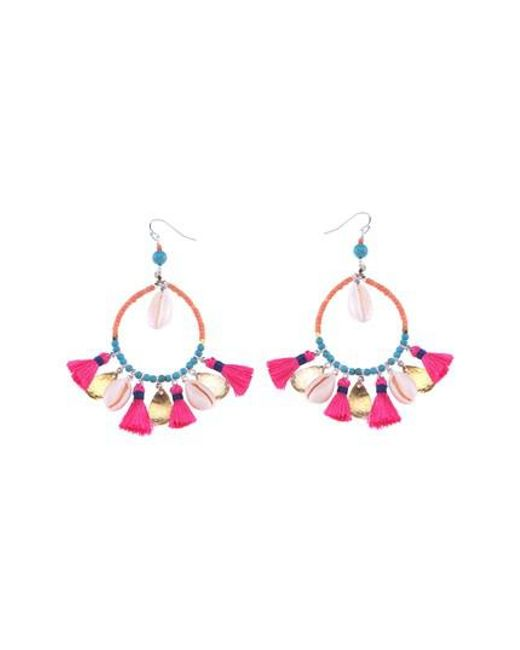 Nakamol - Pink Shell & Tassel Hoop Earrings - Lyst