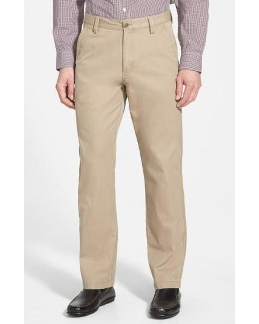 Cutter & Buck | Brown 'beckett' Straight Leg Washed Cotton Pants for Men | Lyst