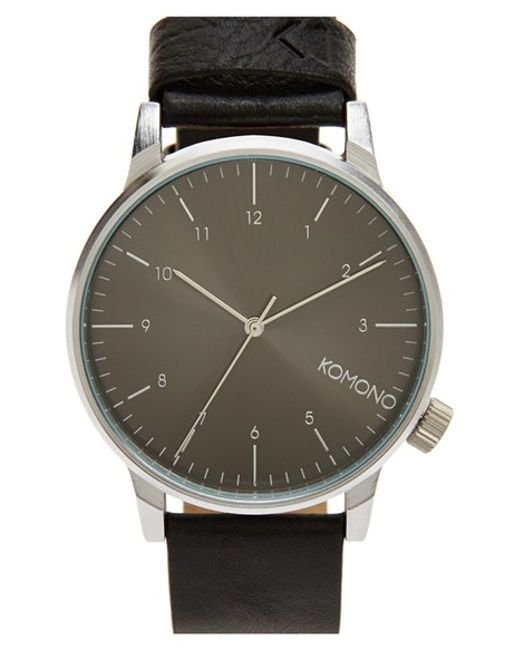 Komono | Brown 'winston' Round Dial Leather Strap Watch for Men | Lyst