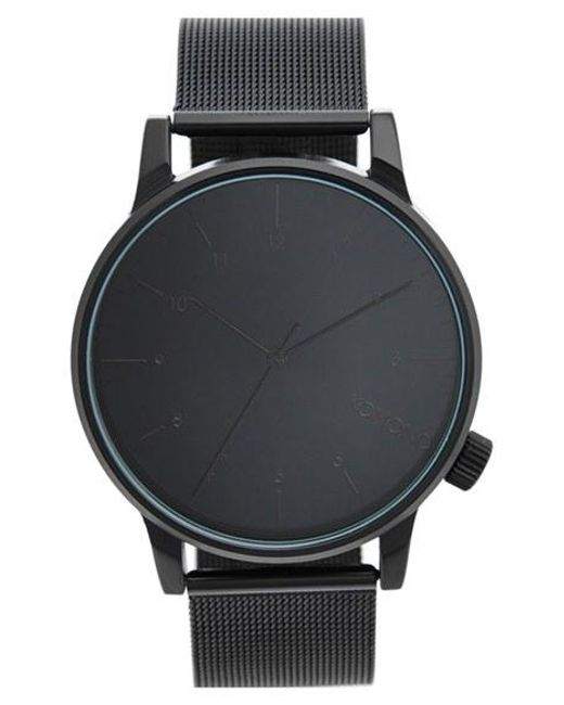 Komono | Black 'winston' Round Dial Strap Watch for Men | Lyst