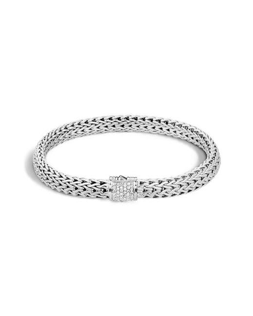 John Hardy | Metallic 'classic Chain' Diamond Small Bracelet | Lyst