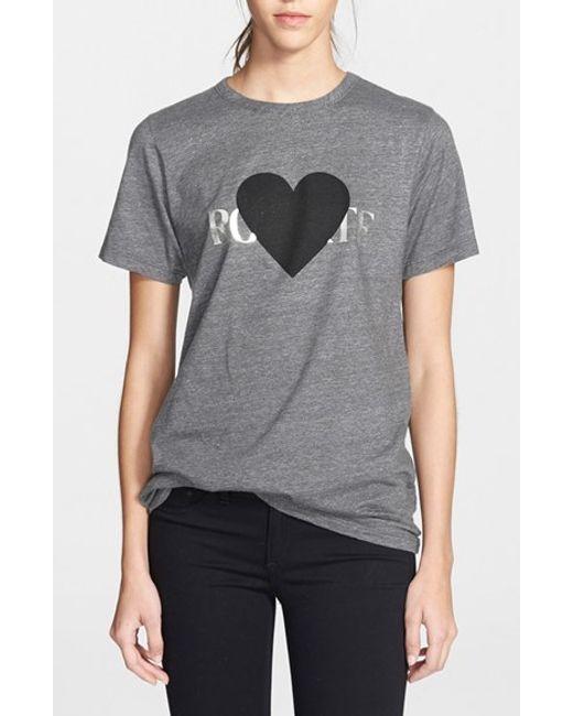 Rodarte | Gray 'rohearte' Heart Graphic Tee | Lyst