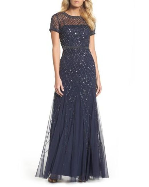 Adrianna Papell | Natural Beaded Mesh Gown | Lyst
