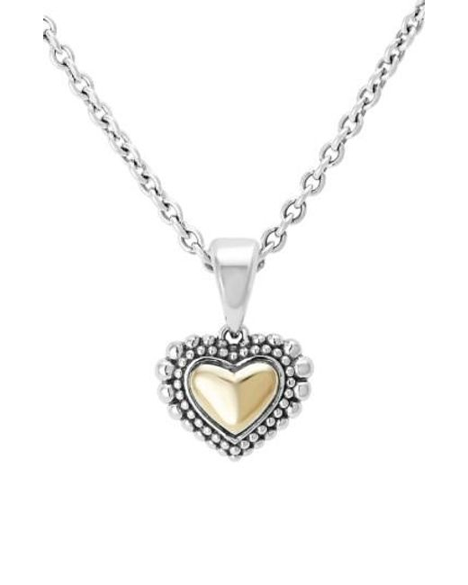 Lagos   Metallic Two-tone Heart Pendant Necklace   Lyst