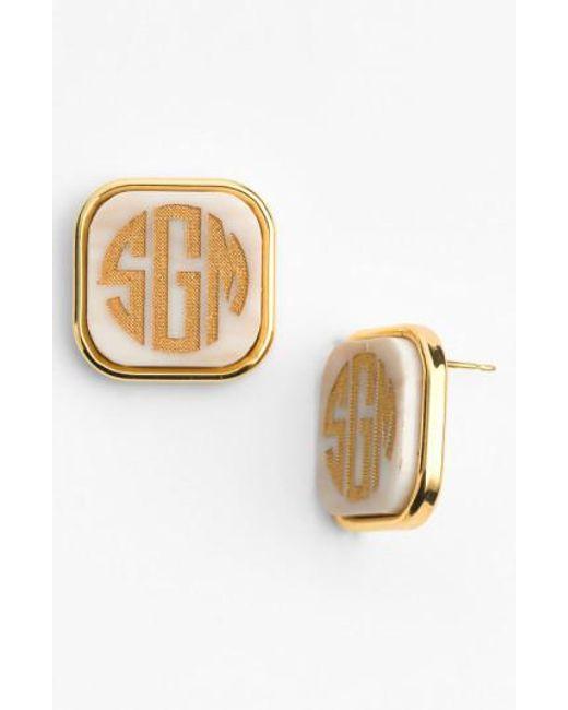 Moon & Lola | White 'vineyard' Personalized Monogram Stud Earrings | Lyst