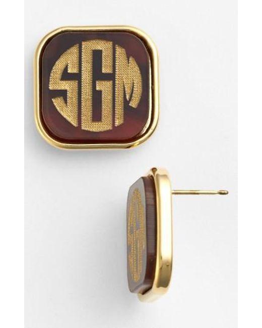 Moon & Lola   Metallic 'vineyard' Personalized Monogram Stud Earrings   Lyst