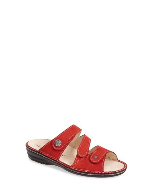 Finn Comfort | Red 'lazise' Leather Slide Sandal | Lyst