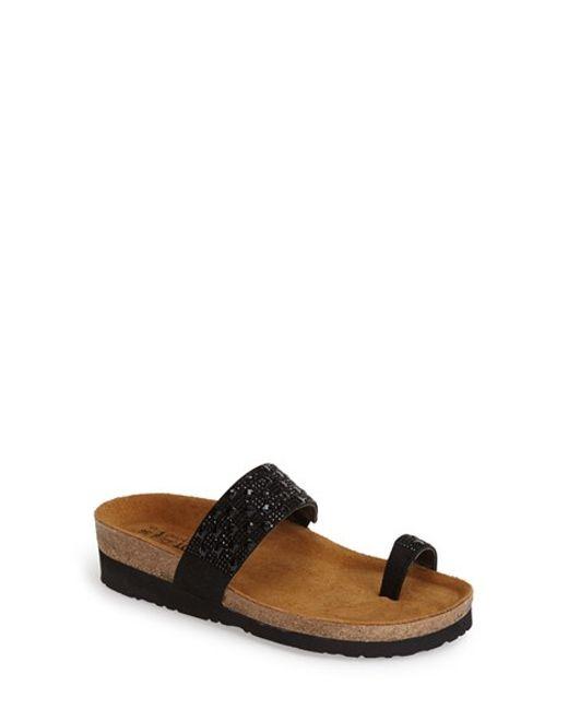 Naot | Black 'nevada' Embellished Leather Slide Sandal | Lyst
