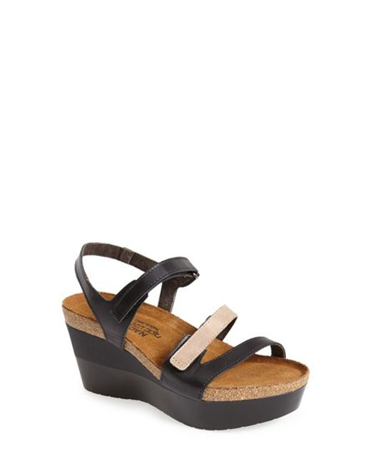 Naot | Black 'canaan' Wedge Sandal | Lyst