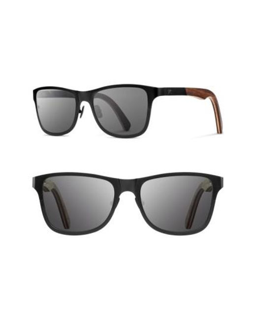 Shwood | Black 'canby' 54mm Titanium & Wood Sunglasses | Lyst