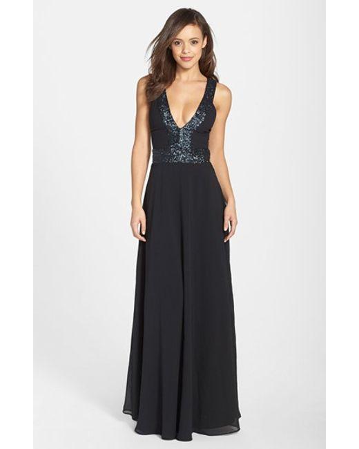Dress the Population | Black Delani Crepe Gown | Lyst