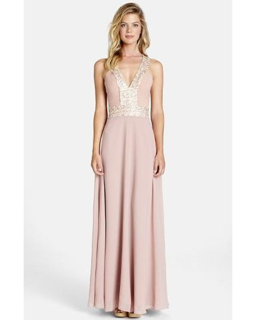 Dress the Population | Pink Delani Crepe Gown | Lyst