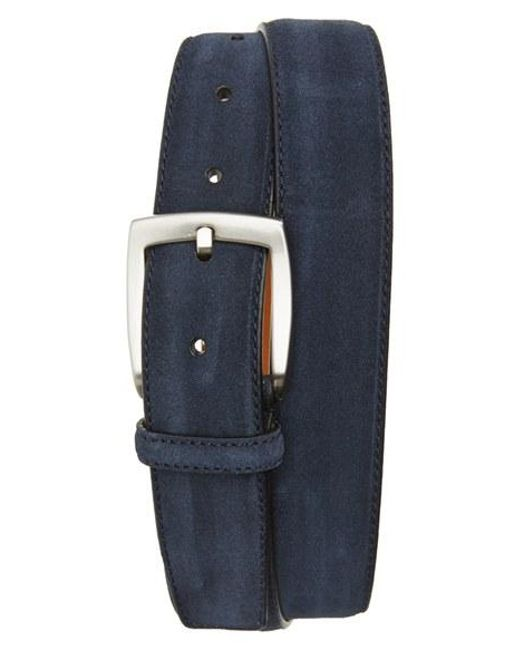 Saks Fifth Avenue | Blue Crosta Suede Belt for Men | Lyst