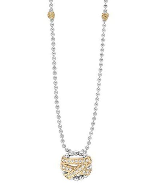 Lagos | Metallic 'diamonds & Caviar' Pendant Necklace | Lyst