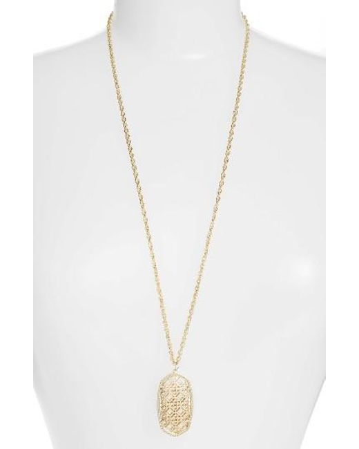 Kendra Scott | Metallic Rae Long Filigree Pendant Necklace | Lyst