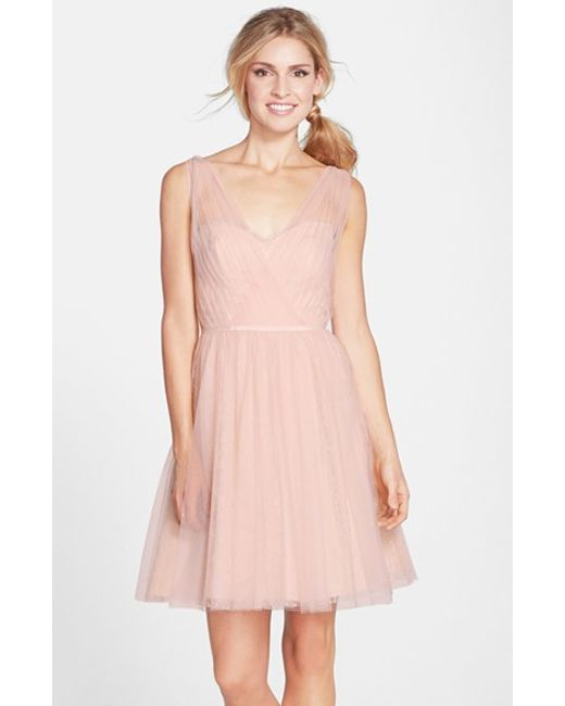 Monique Lhuillier Bridesmaids | Pink Tulle Overlay Lace Fit & Flare Dress | Lyst