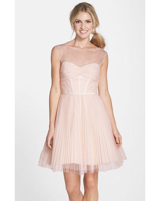Monique Lhuillier Bridesmaids | Pink Illusion Yoke Tulle Fit & Flare Dress | Lyst