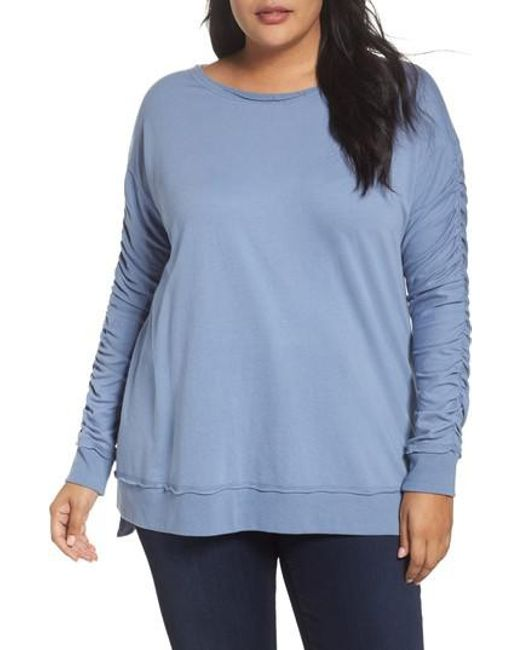 Caslon - Blue Caslon Scrunch Sleeve Sweatshirt - Lyst