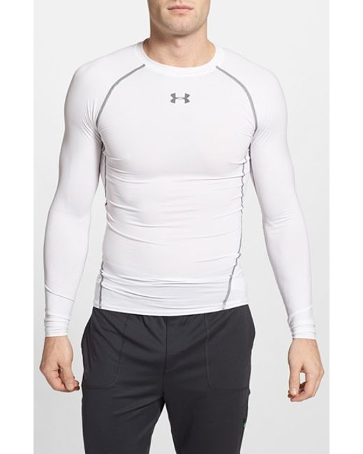 Under Armour | White Heatgear Compression Fit Long Sleeve T-shirt for Men | Lyst
