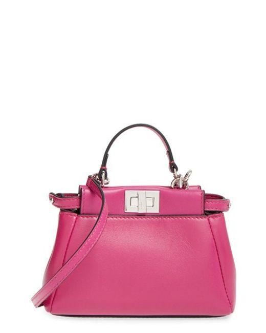 Fendi | Pink 'micro Peekaboo' Nappa Leather Bag - Burgundy | Lyst