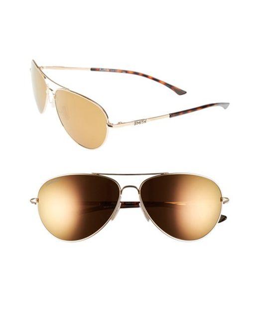 Smith Optics | Metallic 'audible - Chromapop' 60mm Polarized Aviator Sunglasses | Lyst