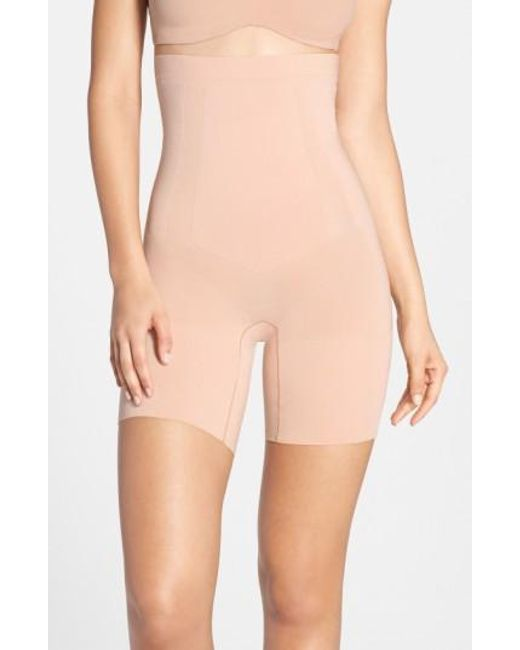 Spanx | Pink Spanx Oncore High Waist Mid Thigh Shaper | Lyst