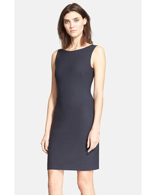 Theory | Gray 'betty.2b' Stretch Wool Sheath Dress | Lyst