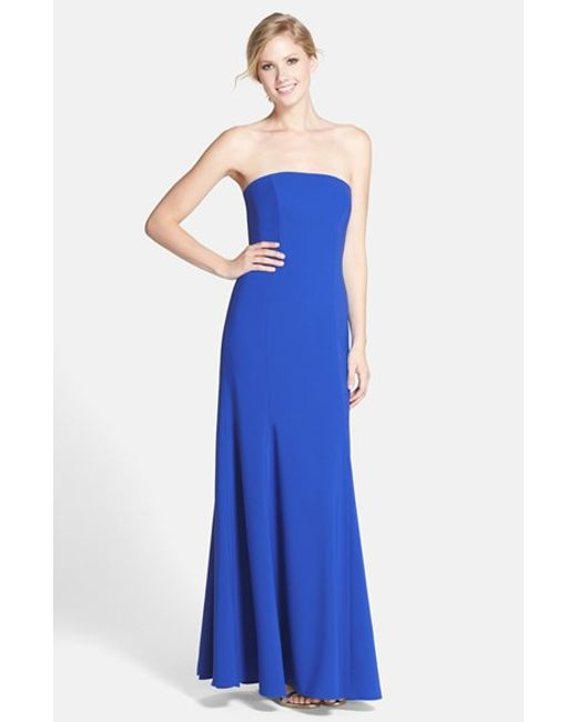 Dessy Collection | Blue Strapless Crepe Trumpet Gown | Lyst
